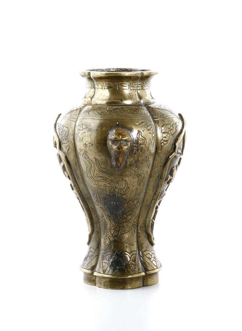 Chinese Bronze Baluster Vase - 3