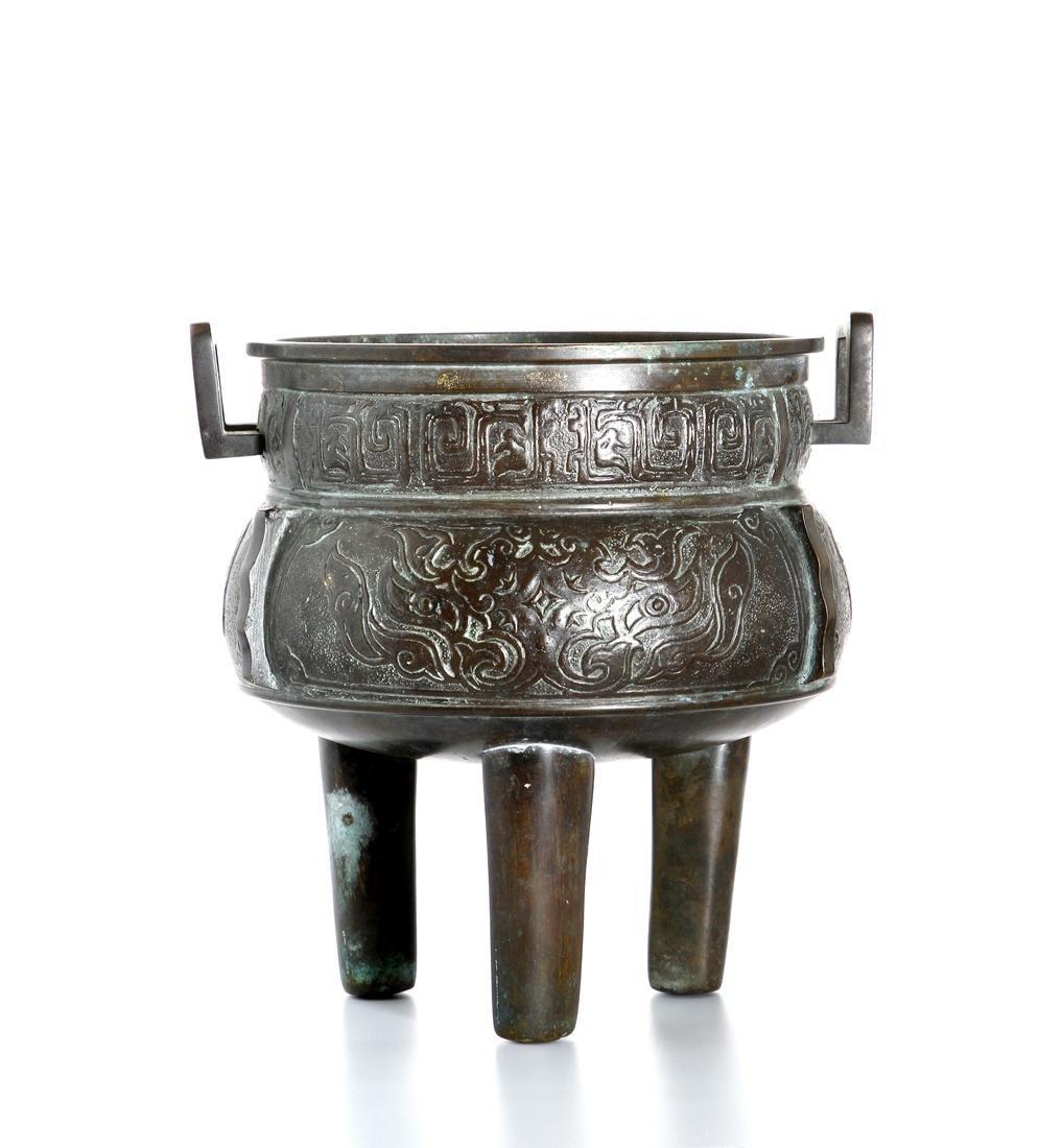 Chinese Archaistic Bronze Tripod Censer - 2
