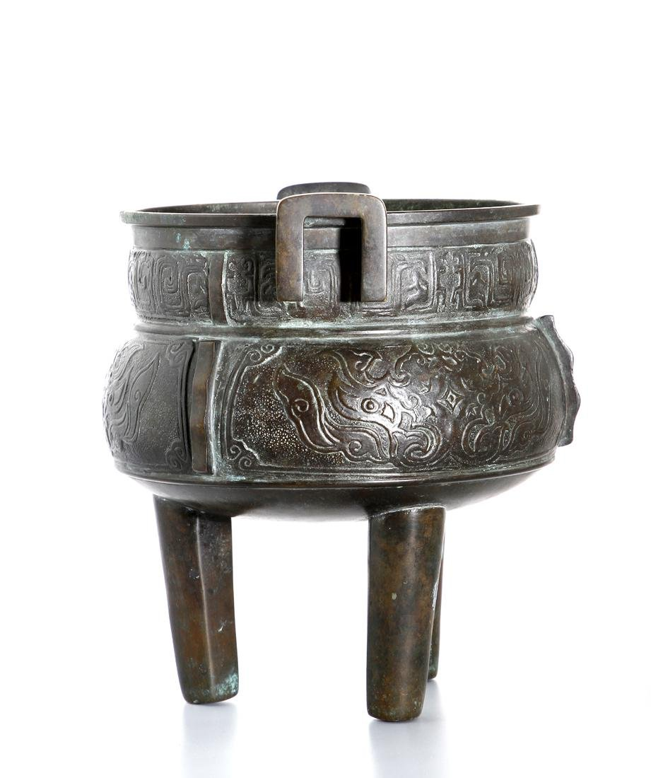 Chinese Archaistic Bronze Tripod Censer - 3
