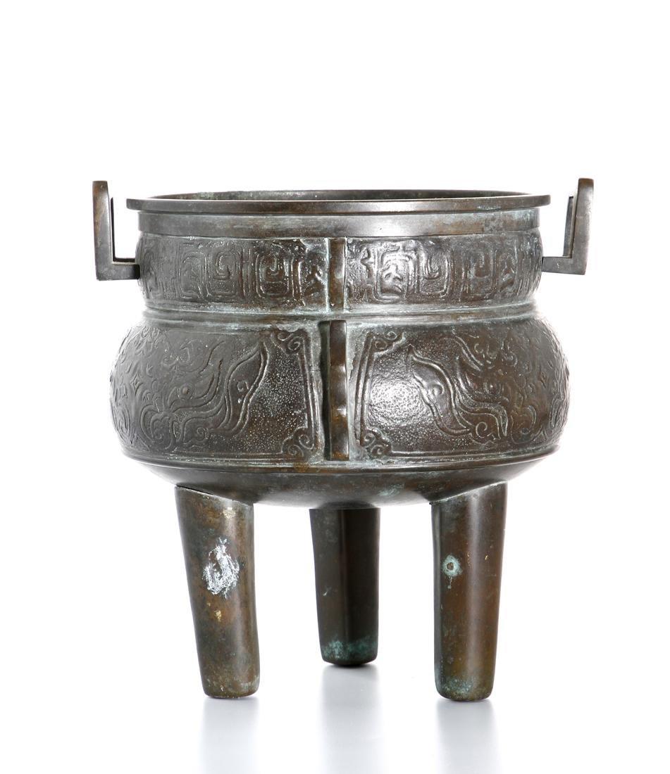 Chinese Archaistic Bronze Tripod Censer - 4