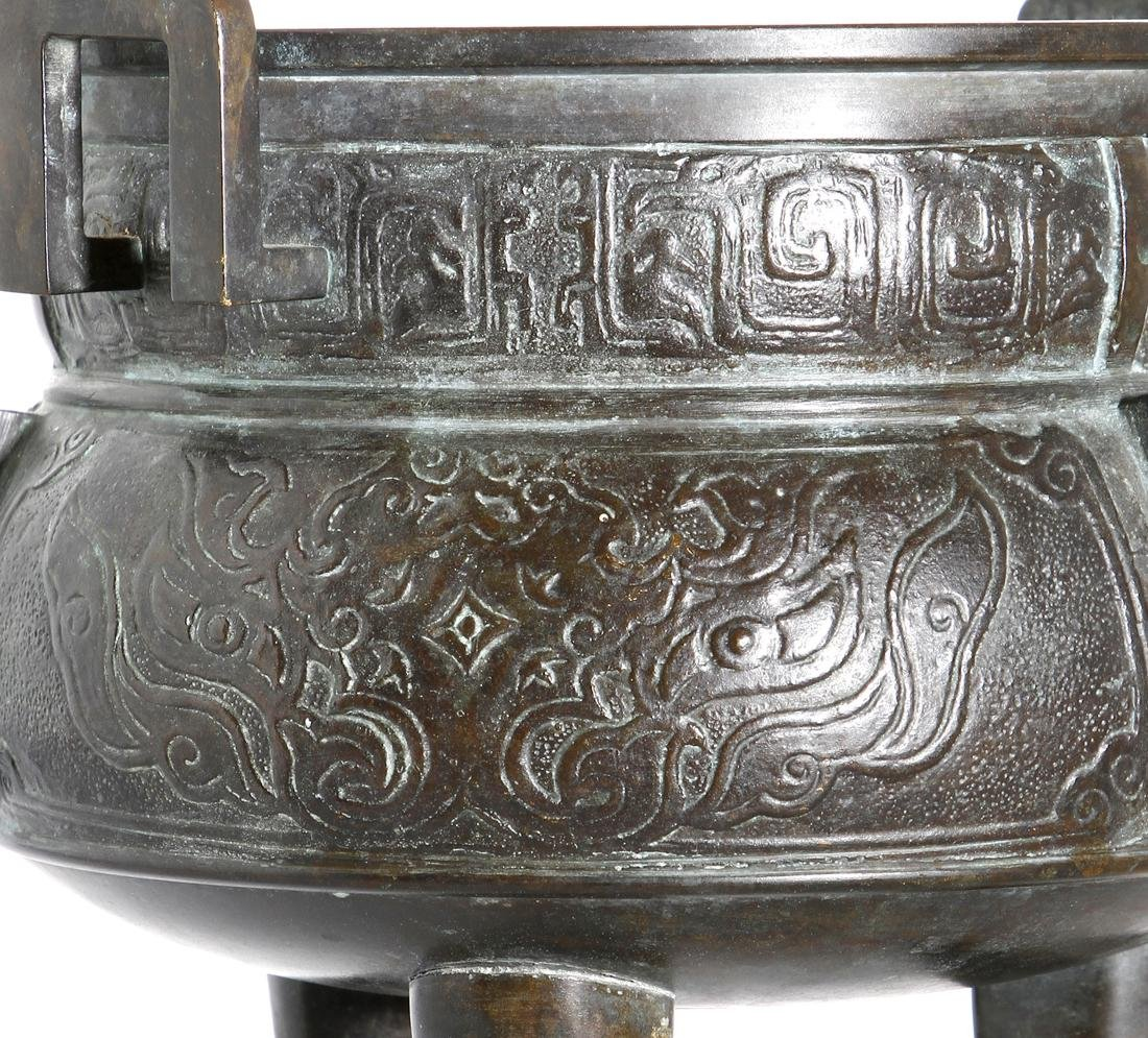 Chinese Archaistic Bronze Tripod Censer - 5