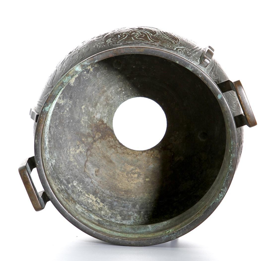 Chinese Archaistic Bronze Tripod Censer - 6