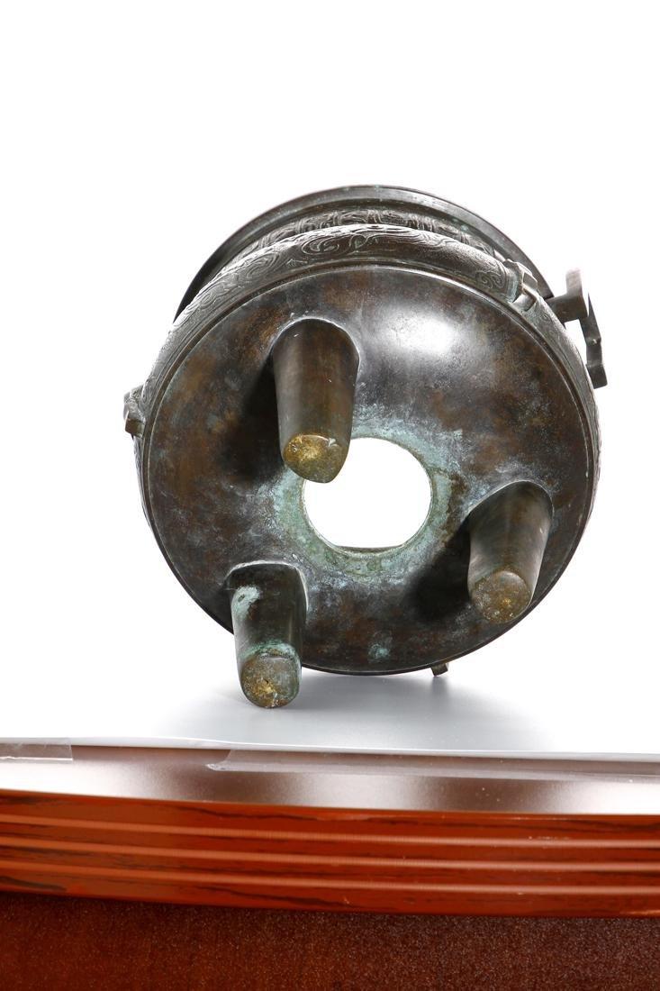 Chinese Archaistic Bronze Tripod Censer - 8
