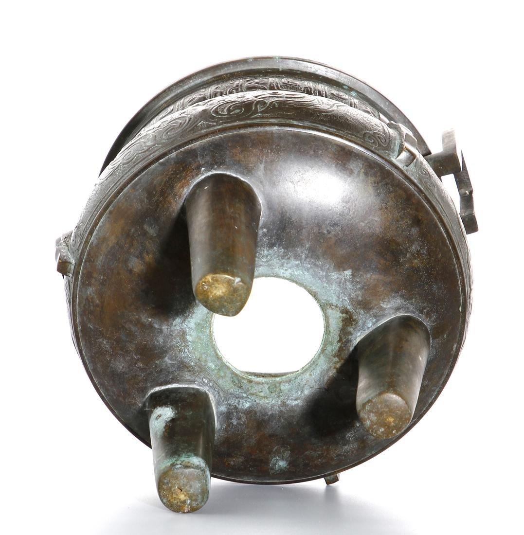 Chinese Archaistic Bronze Tripod Censer - 9