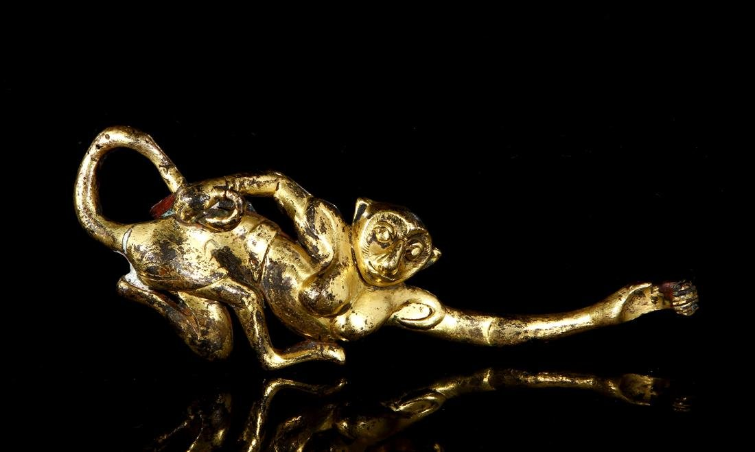 Chinese Gilt Copper Buckle of Monkey