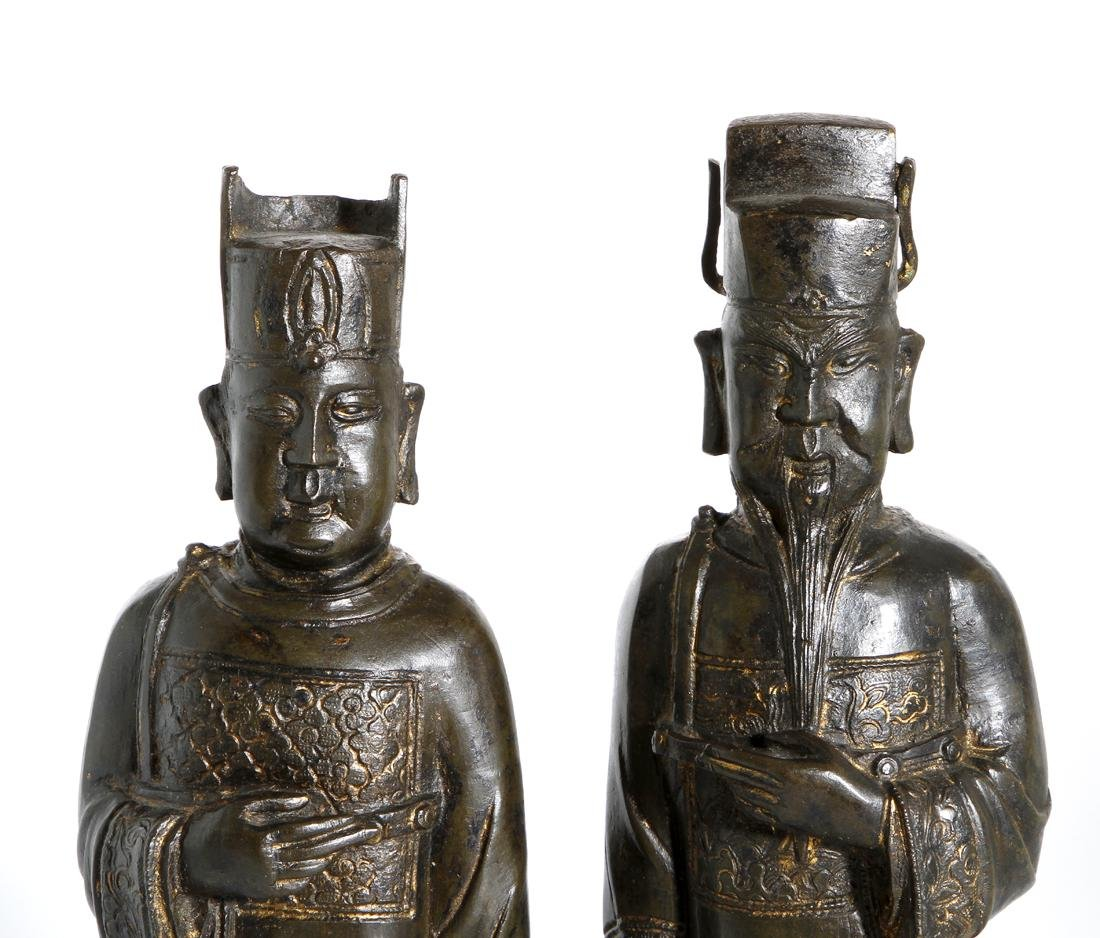 Two Chinese Bronze Figures of Officials - 5
