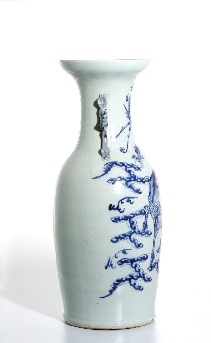 Chinese Blue and White 'Qilin and Phoenix' Vase - 4