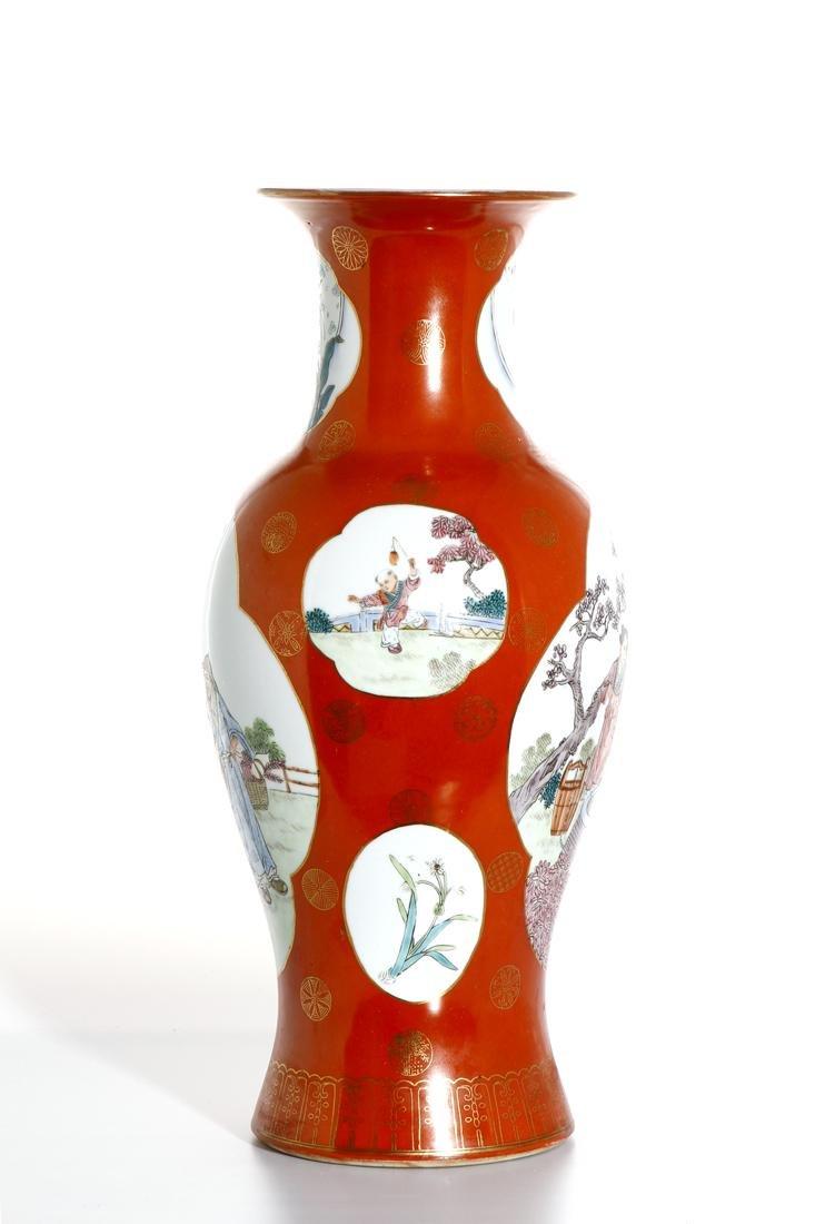 Chinese Famille Rose Baluster Vase - 2