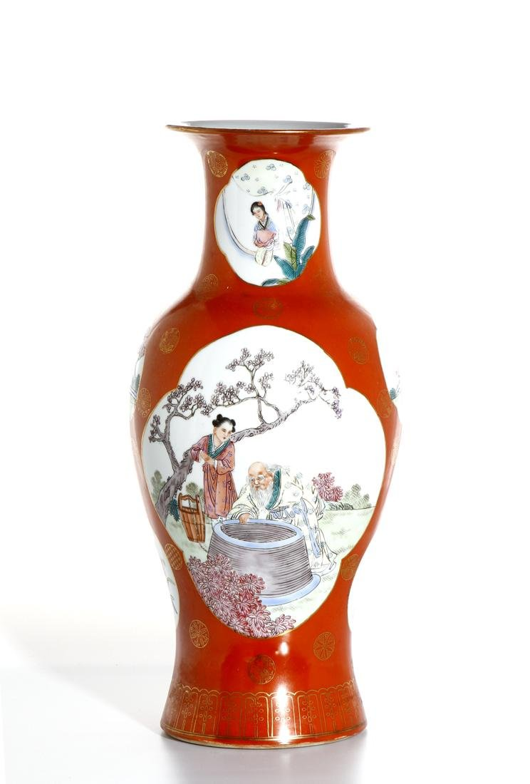 Chinese Famille Rose Baluster Vase - 3