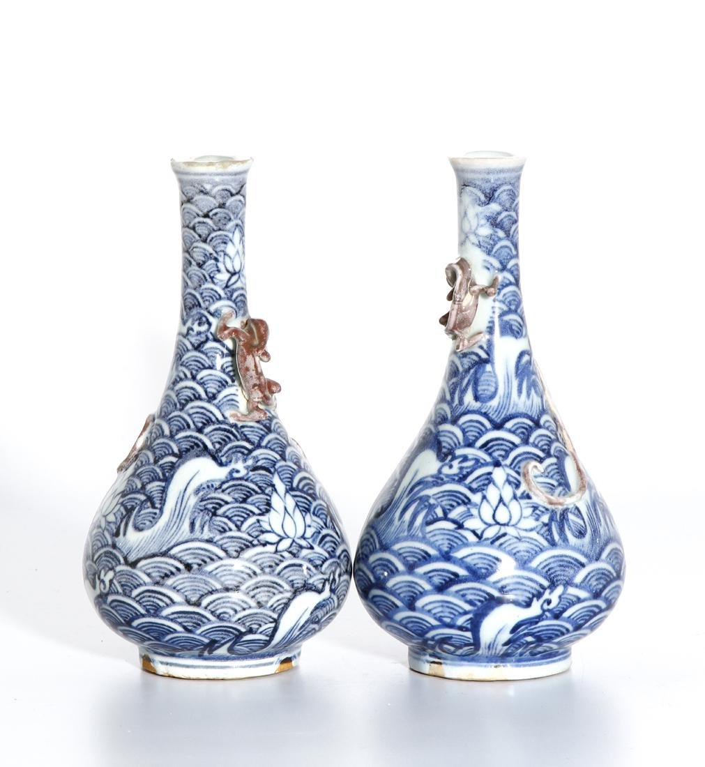 Pair of Chinese Blue and White Vases - 3