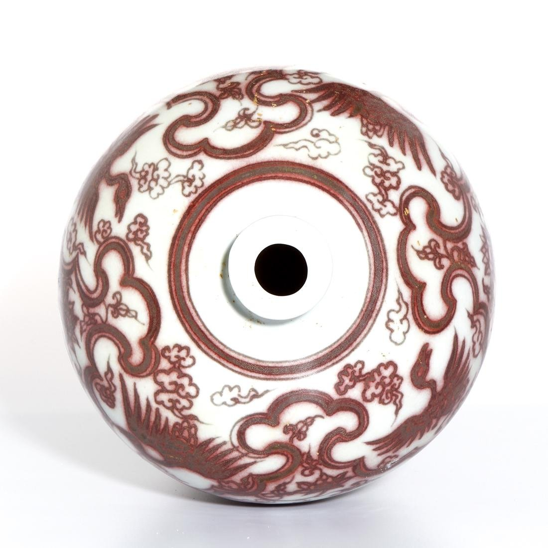 Chinese Copper Red 'Phoenix' Meiping Vase - 6