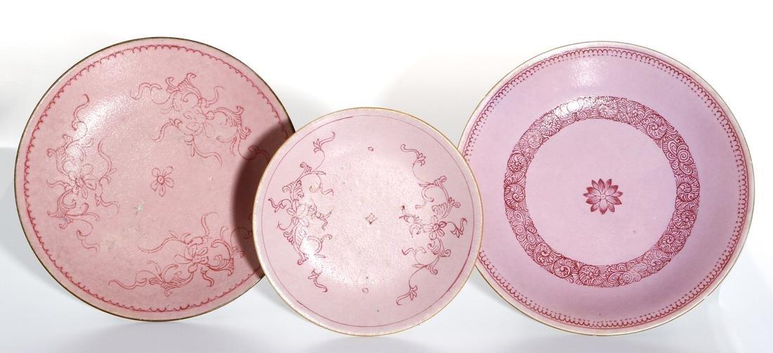 Three Chinese Pink Ground Dishes