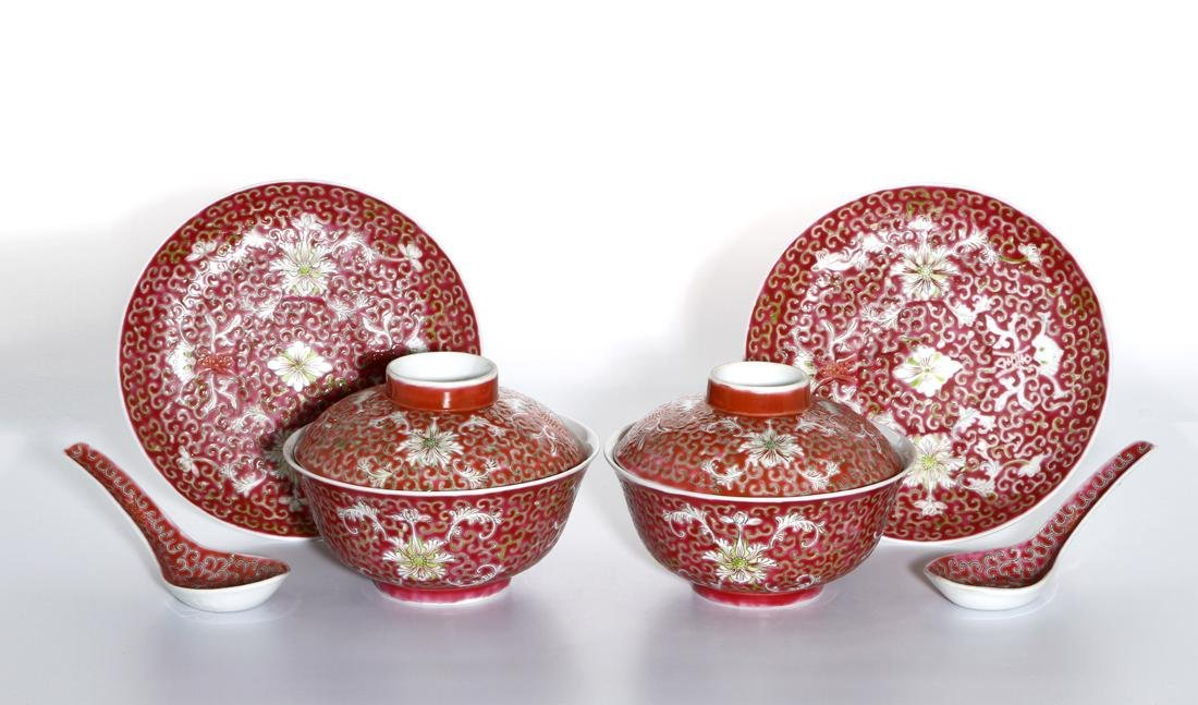 Six-Piece Chinese Famille Rose Tea Set