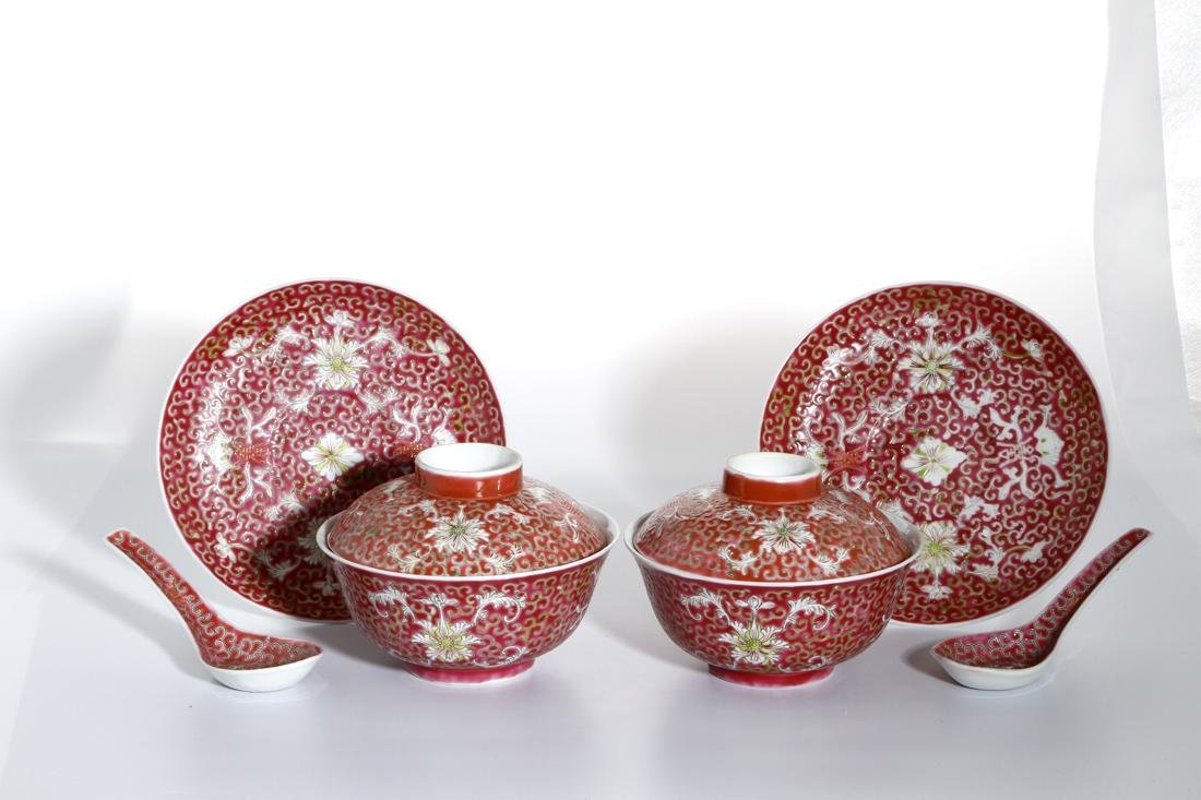 Six-Piece Chinese Famille Rose Tea Set - 9