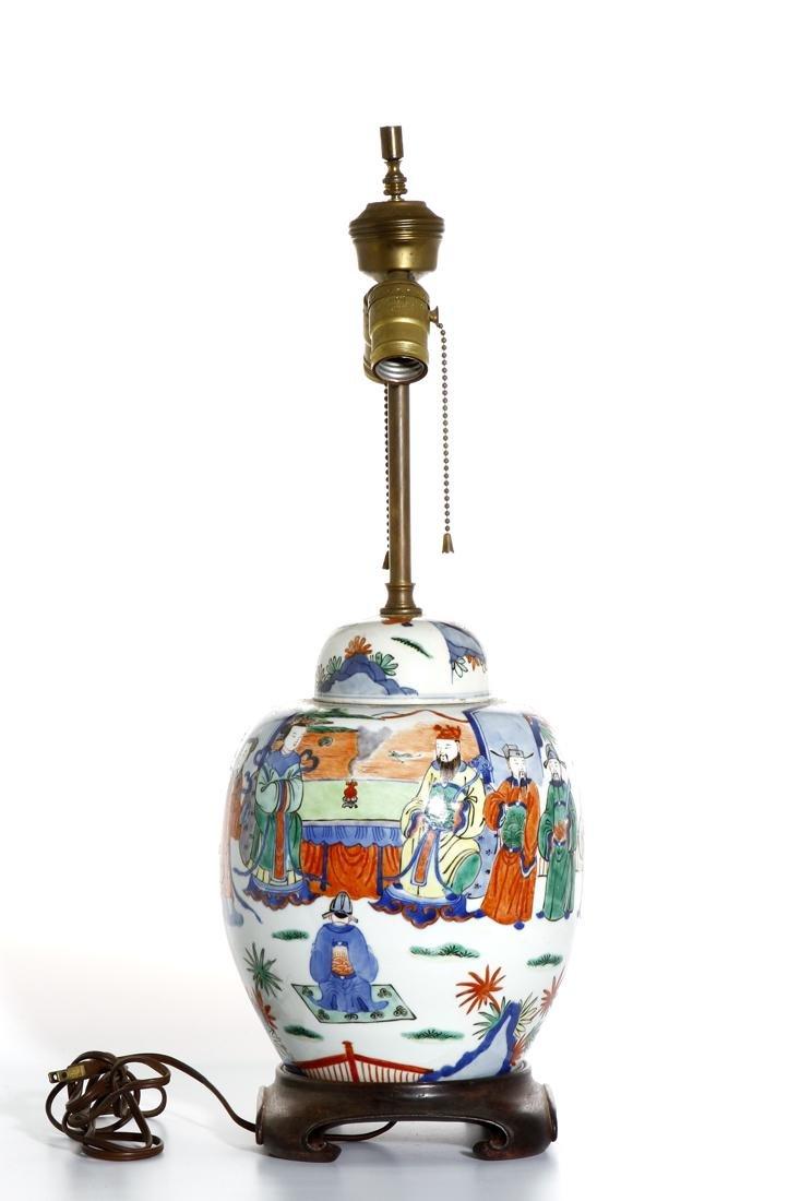 Chinese Famille Verte Ginger Jar Converted Lamp