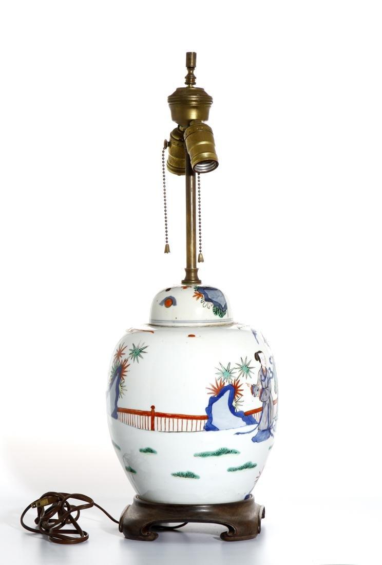 Chinese Famille Verte Ginger Jar Converted Lamp - 3