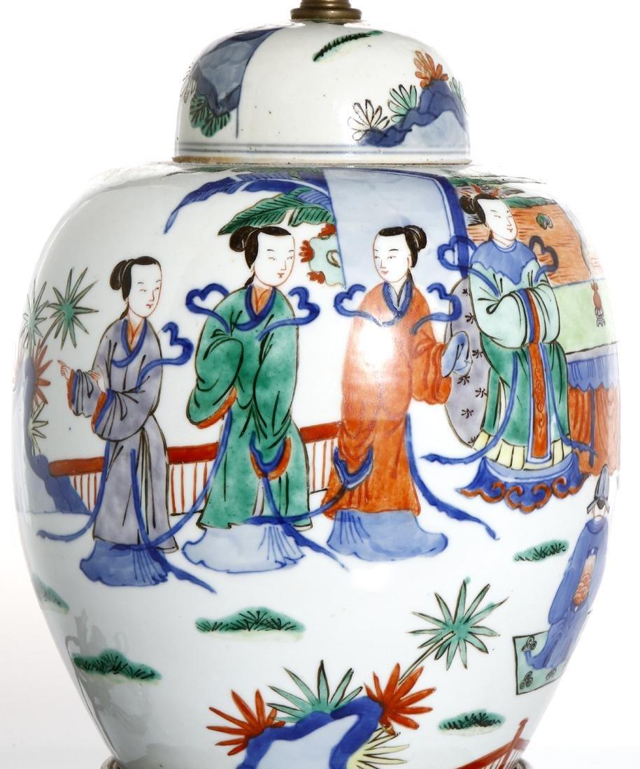 Chinese Famille Verte Ginger Jar Converted Lamp - 4