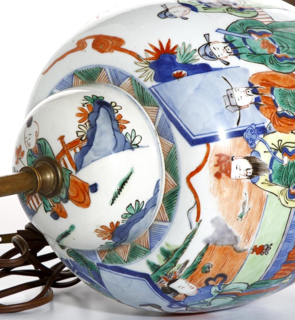Chinese Famille Verte Ginger Jar Converted Lamp - 5