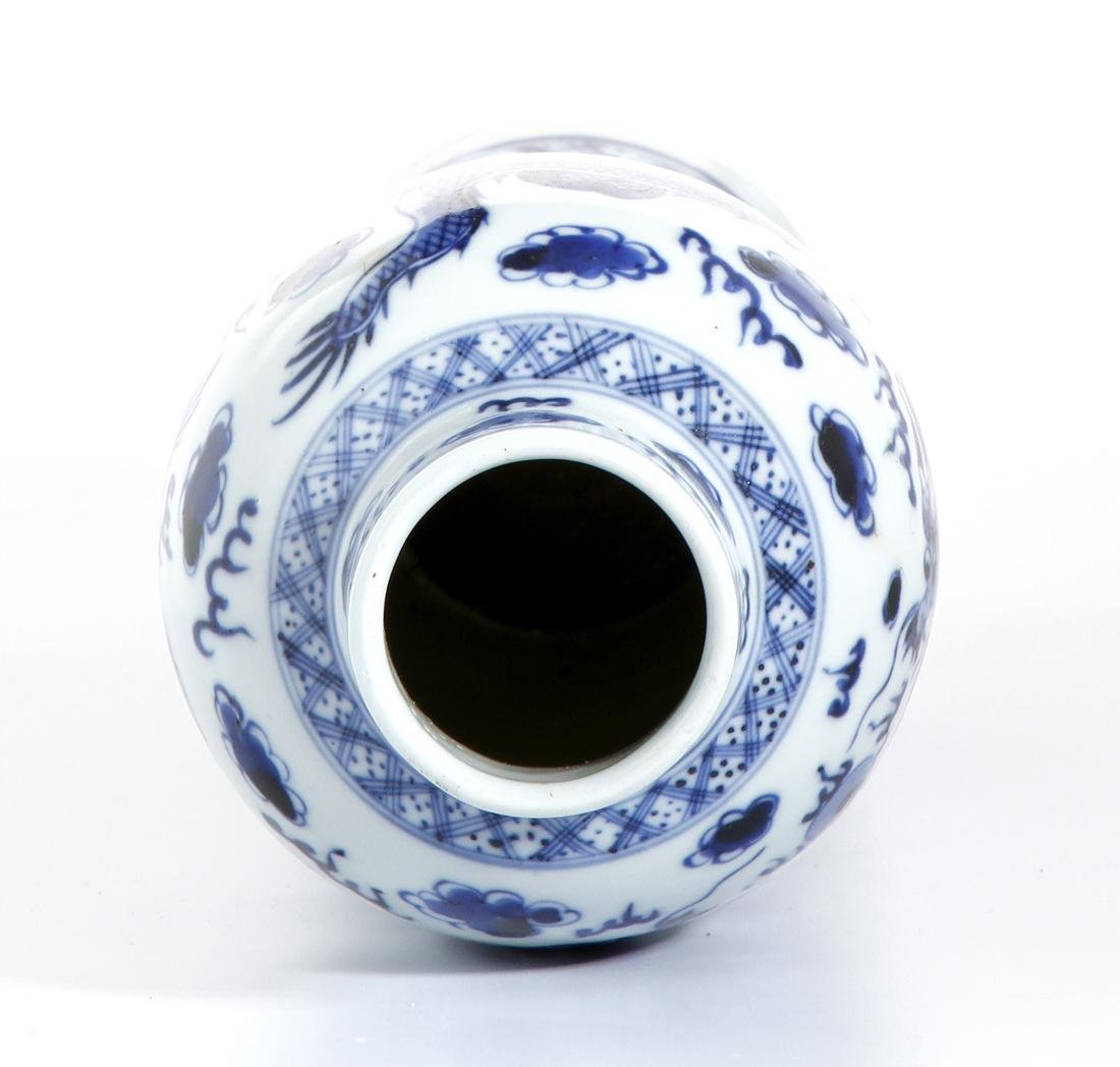 Chinese Blue and White Baluster Vase - 4