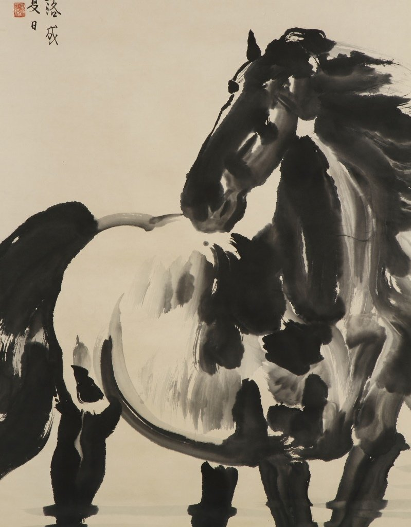 Scroll Painting of Horse and Pair Calligraphy Coup - 5