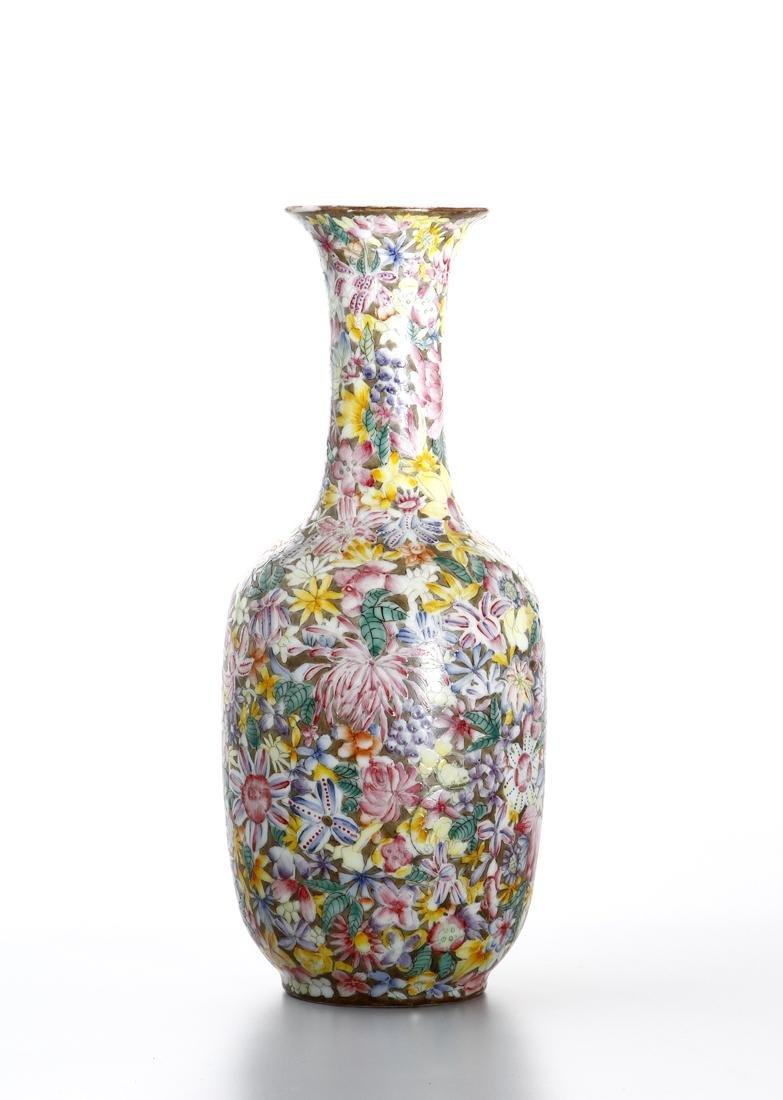 Chinese Famille Rose 'Mille-Fleurs' Vase - 2