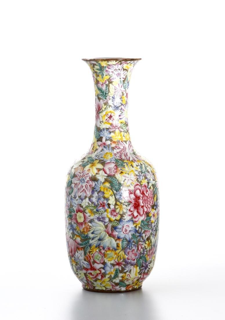 Chinese Famille Rose 'Mille-Fleurs' Vase - 3