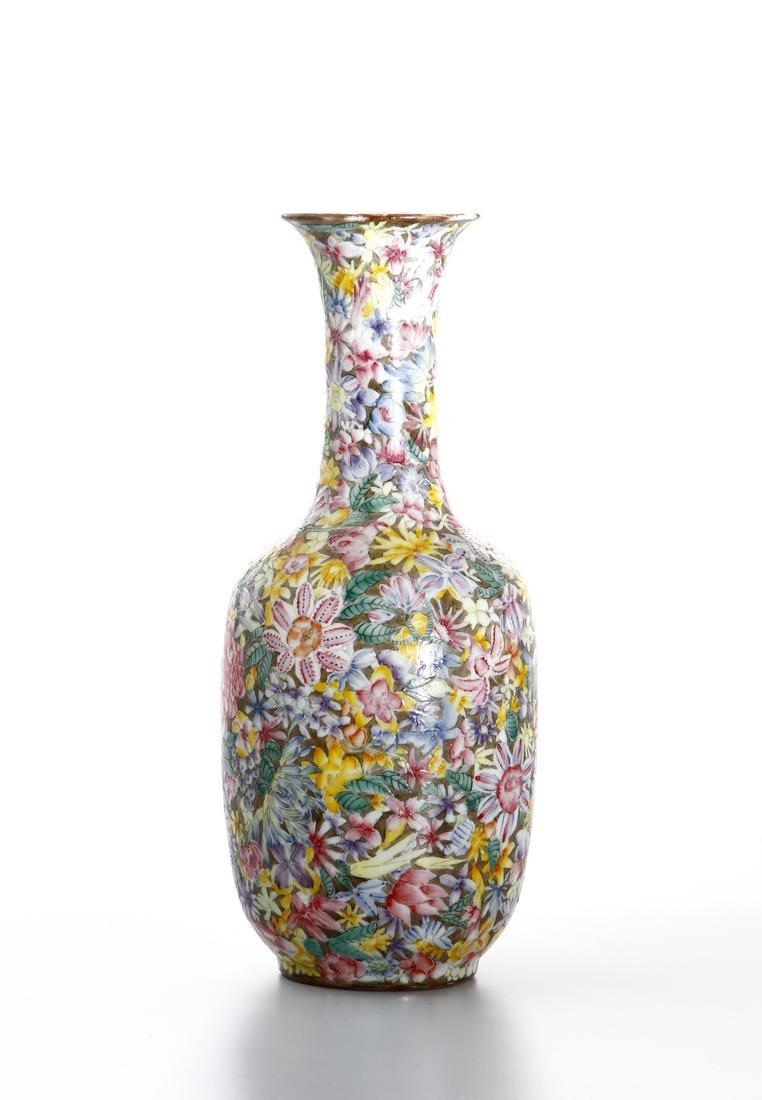 Chinese Famille Rose 'Mille-Fleurs' Vase - 4