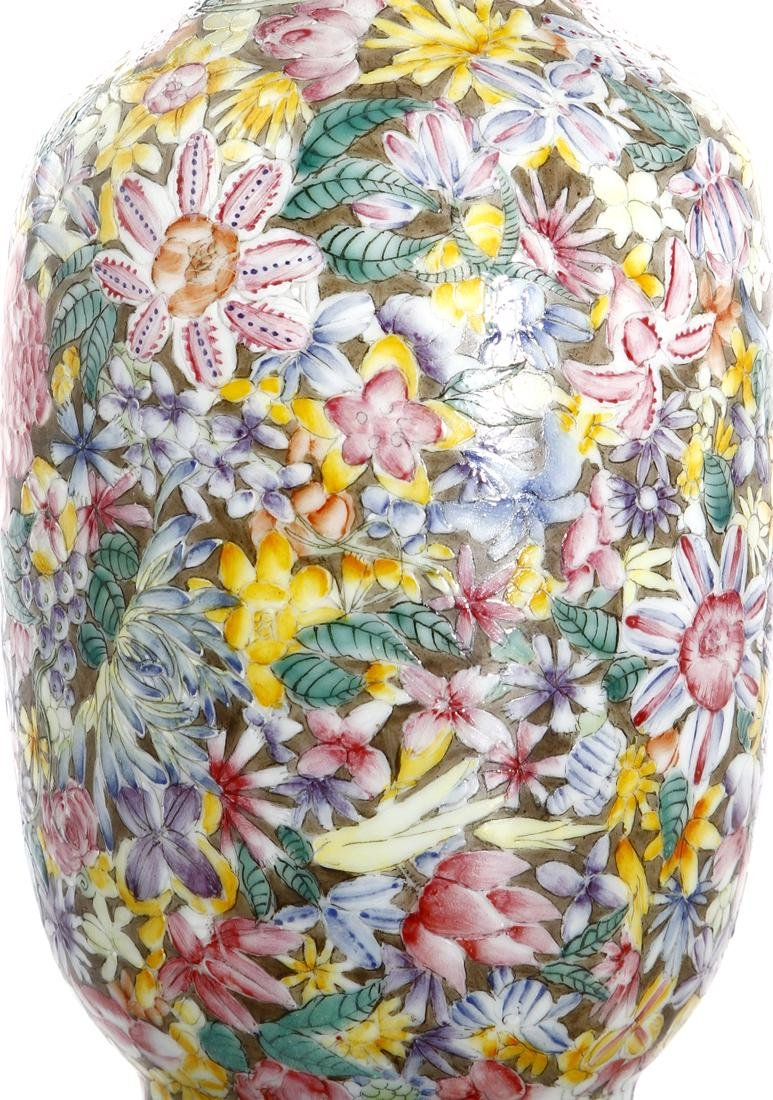 Chinese Famille Rose 'Mille-Fleurs' Vase - 5