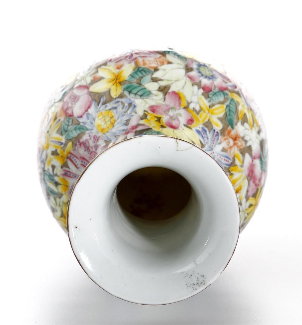 Chinese Famille Rose 'Mille-Fleurs' Vase - 6
