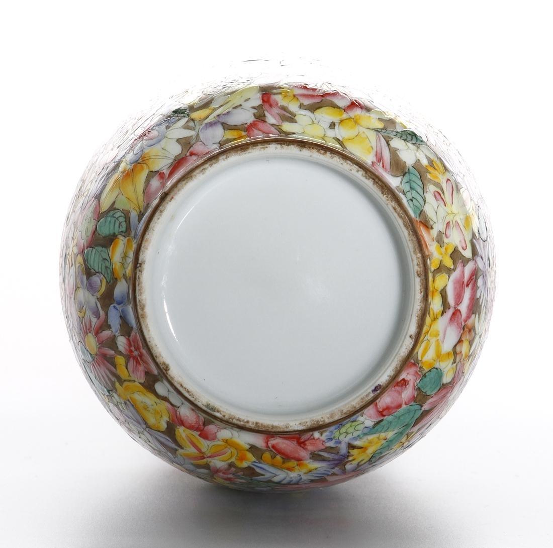 Chinese Famille Rose 'Mille-Fleurs' Vase - 9