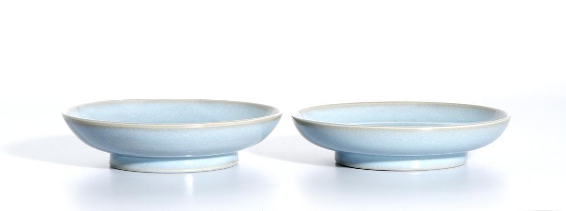 Pair of Chinese Jun Type Dishes