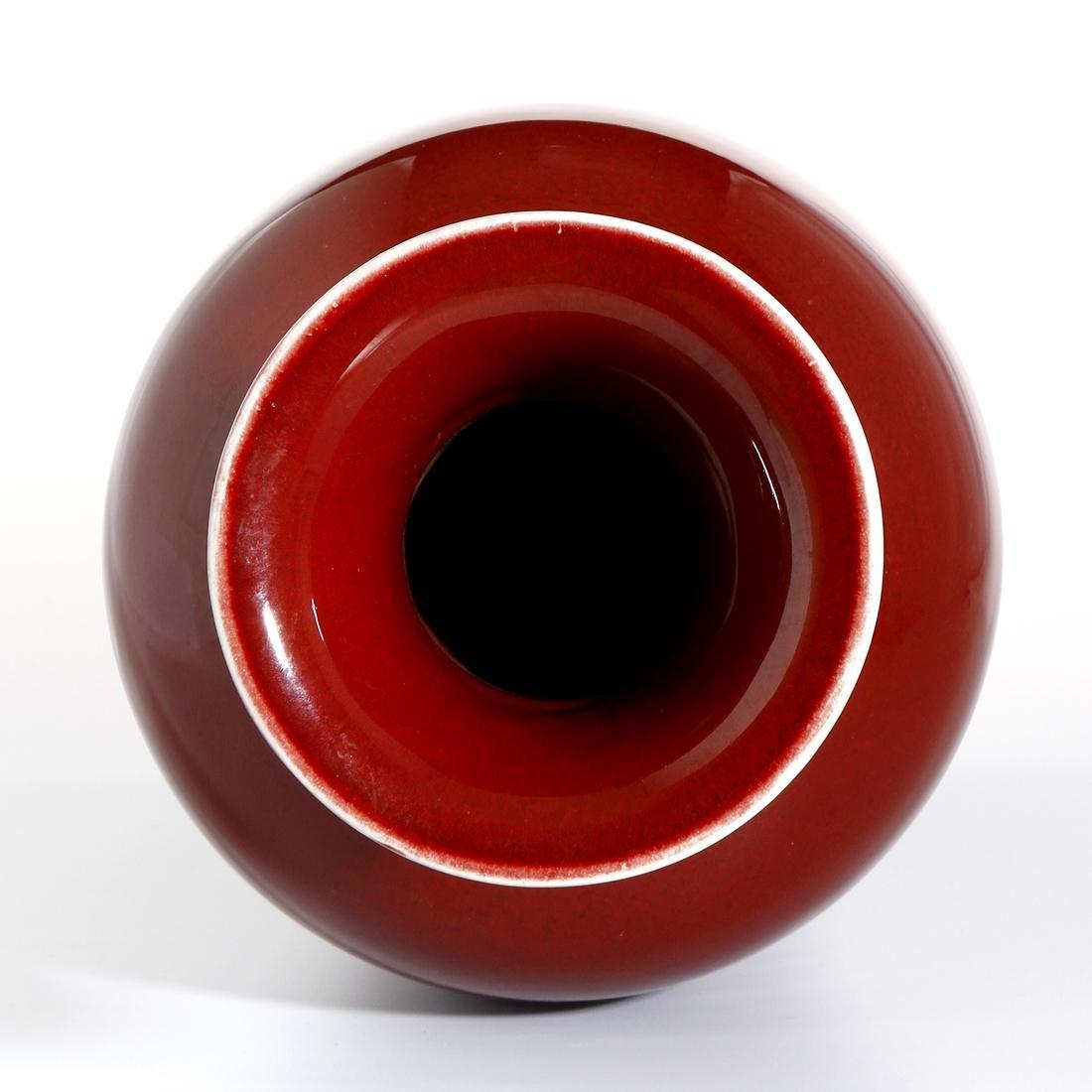 Chinese Red Glazed Baluster Vase - 5