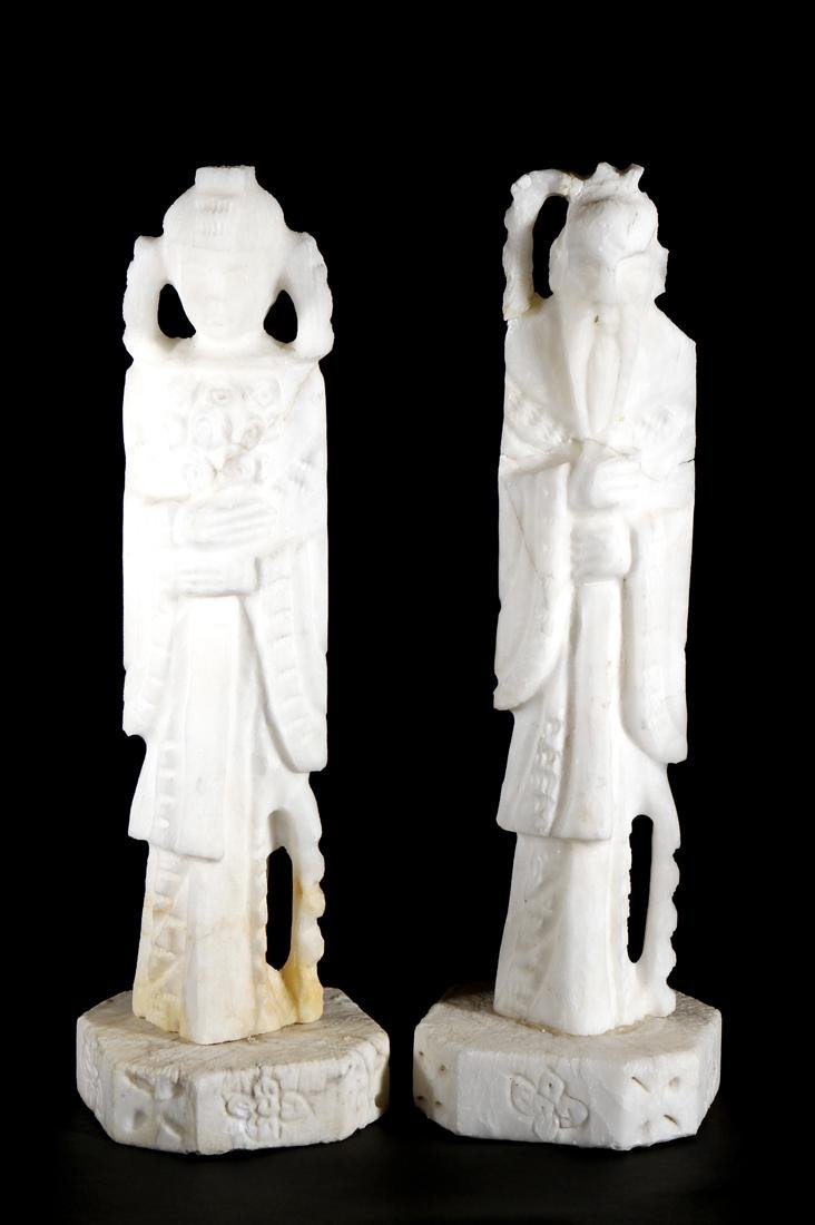 Two White Chinese 'Immortal' Statues