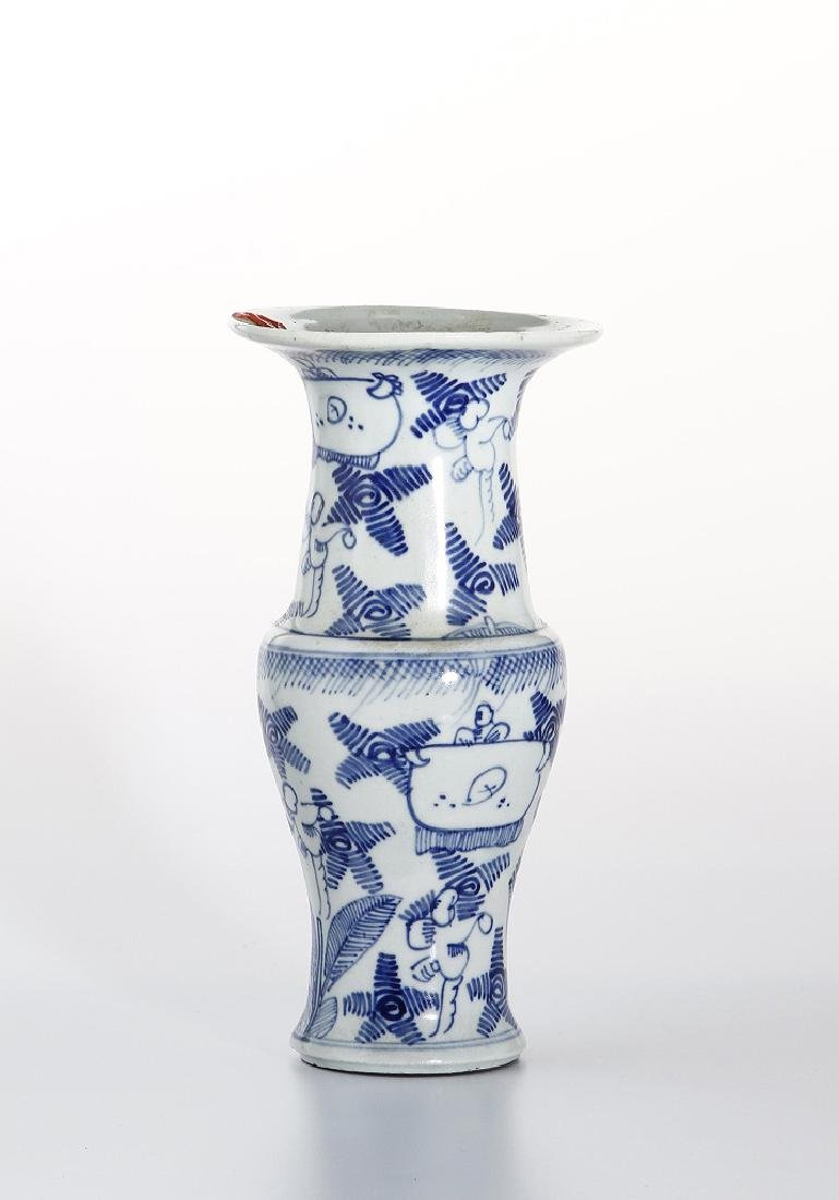 Chinese Blue and White Beaker Vase - 2