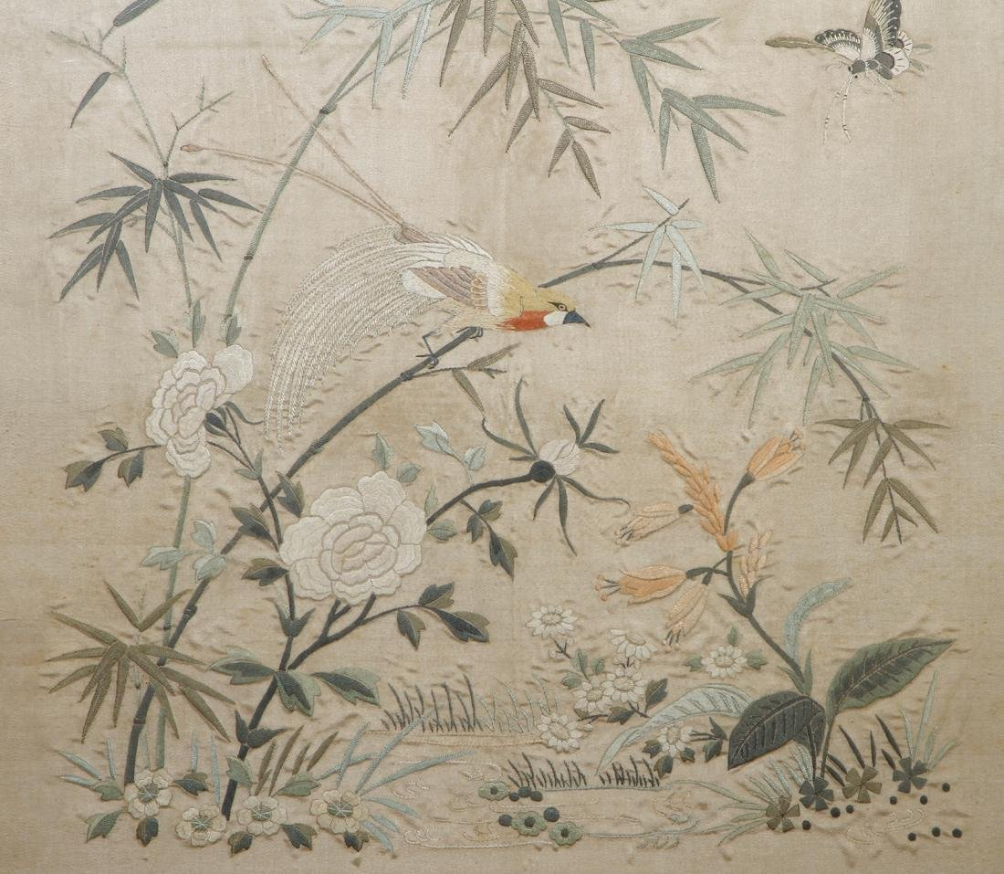 Framed Silk Embroidery of Flowers and Birds - 2