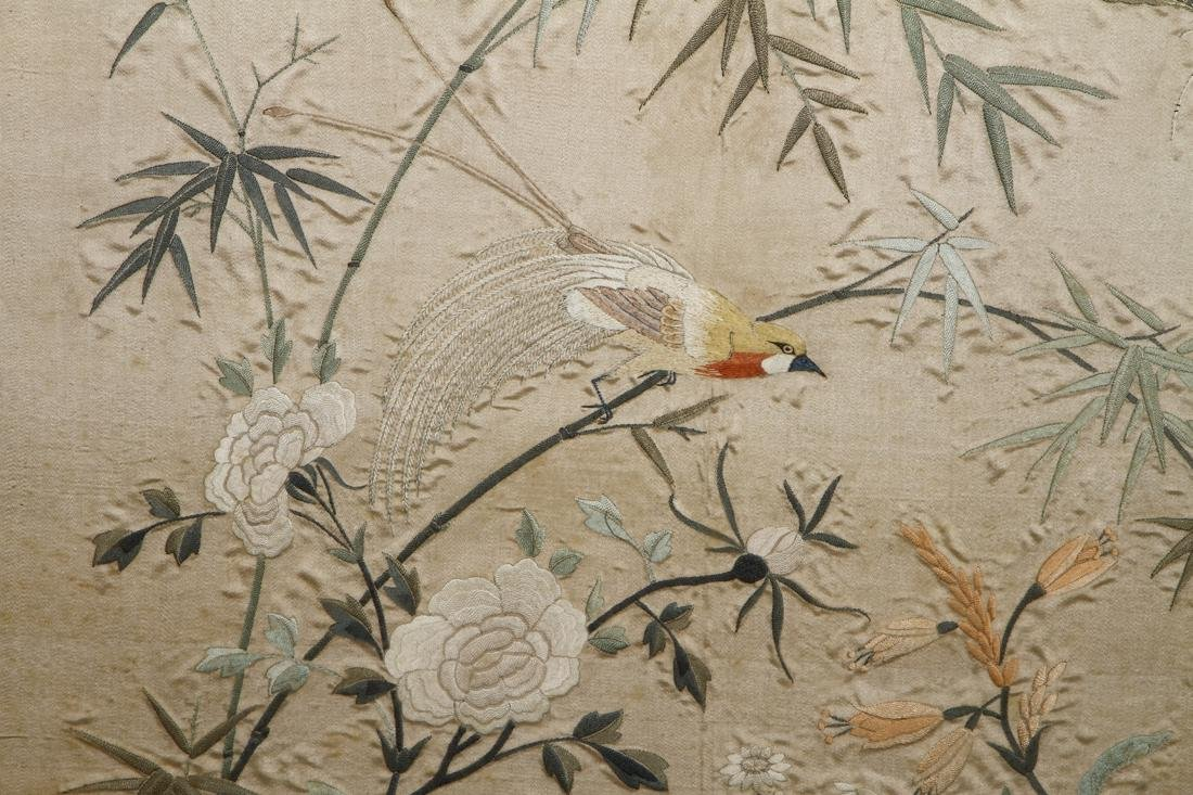 Framed Silk Embroidery of Flowers and Birds - 3