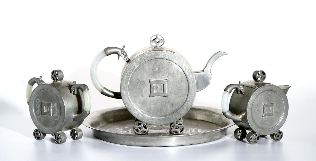 Chinese Three-piece Tea Set and Tray - 2