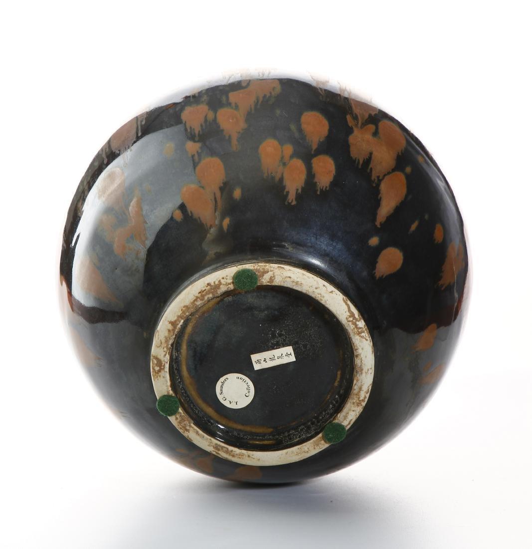 Black Glazed Russet Splashed Globular Vase - 7