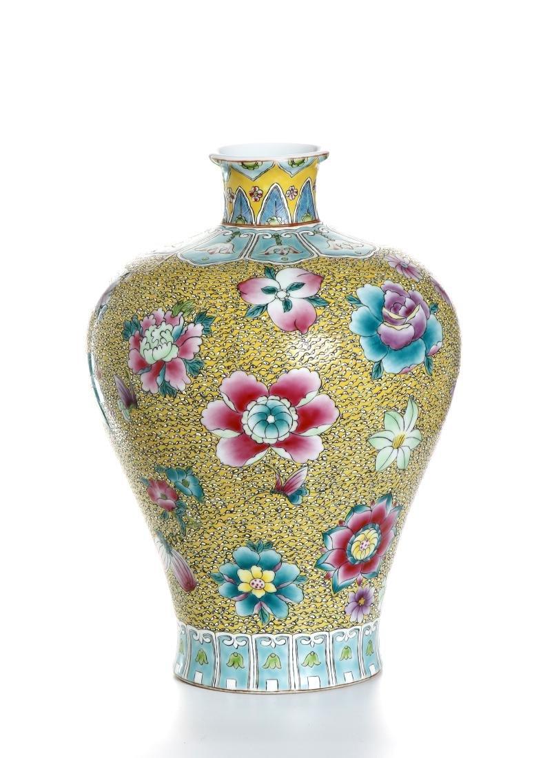 Chinese Yellow-Ground Famille Rose Baluster Vase - 2
