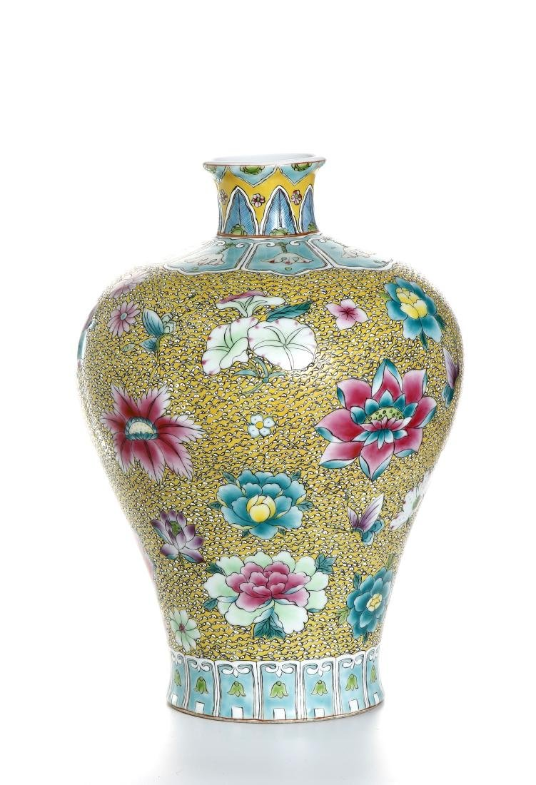 Chinese Yellow-Ground Famille Rose Baluster Vase - 3