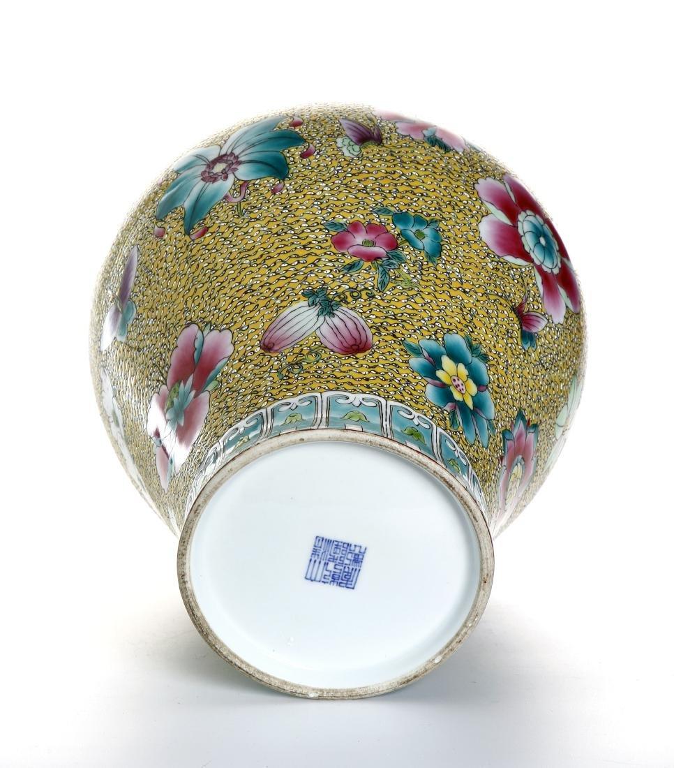 Chinese Yellow-Ground Famille Rose Baluster Vase - 6