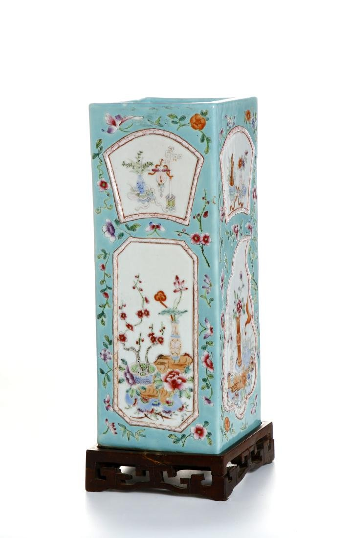 Chinese Turquoise Ground Square Vase