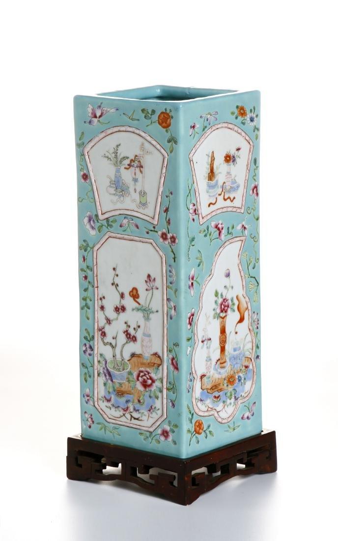 Chinese Turquoise Ground Square Vase - 3