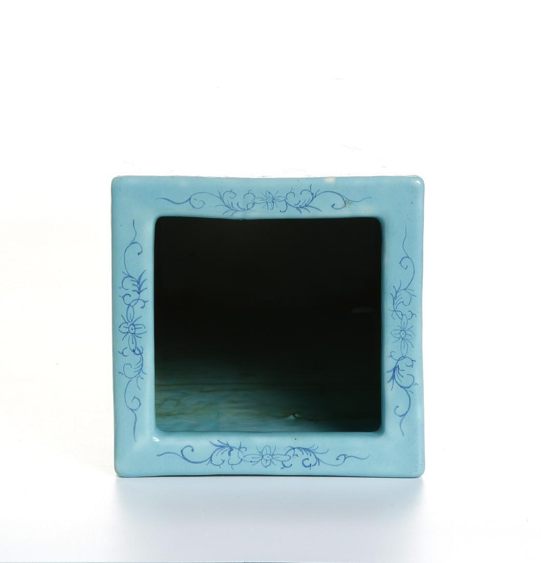 Chinese Turquoise Ground Square Vase - 4