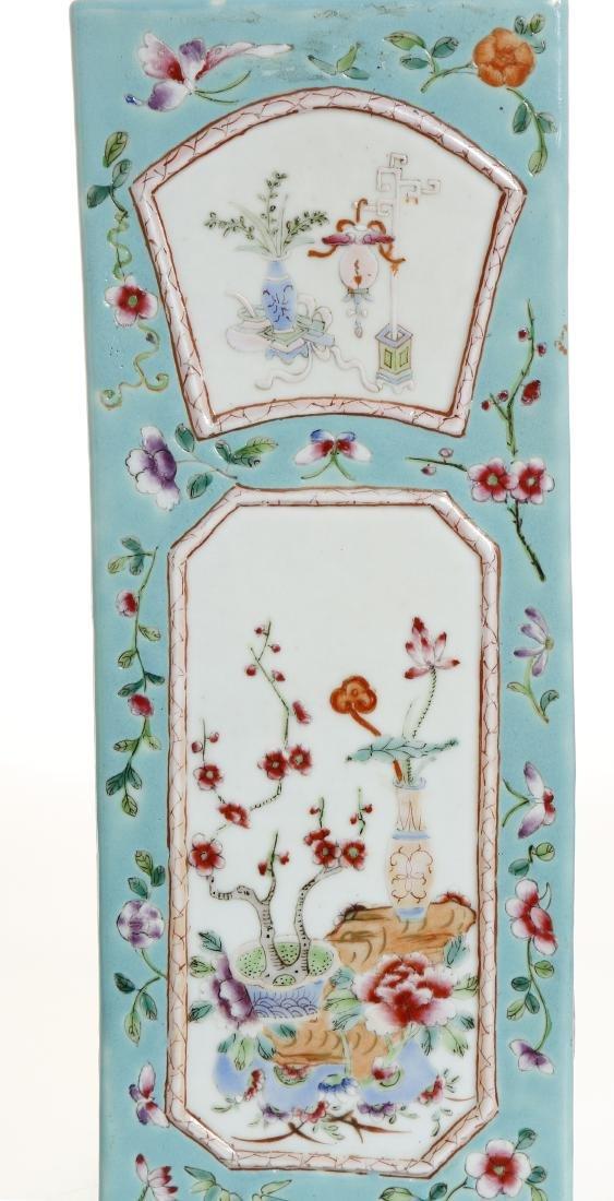 Chinese Turquoise Ground Square Vase - 6