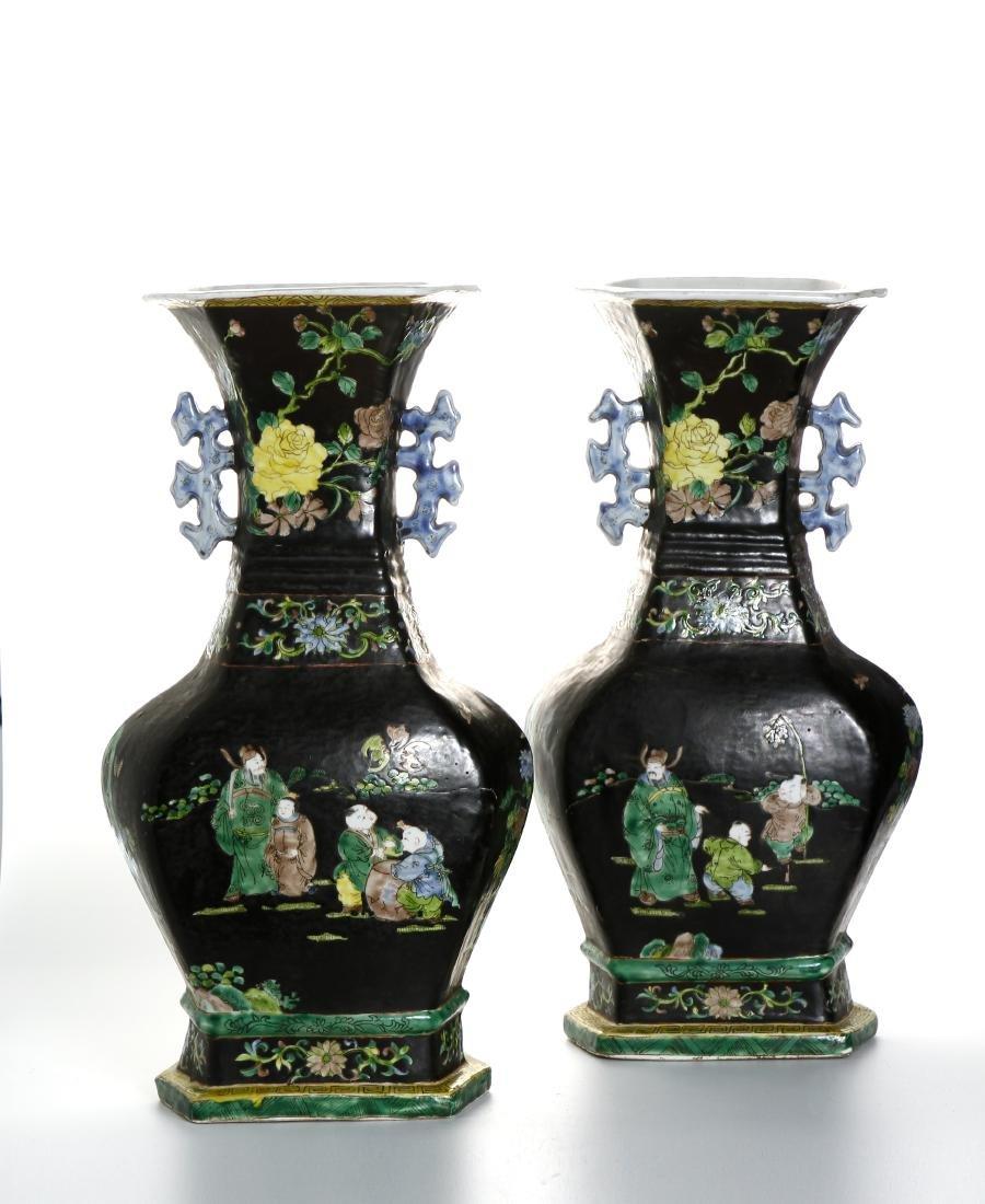 Pair of Chinese Famille Noir Vases