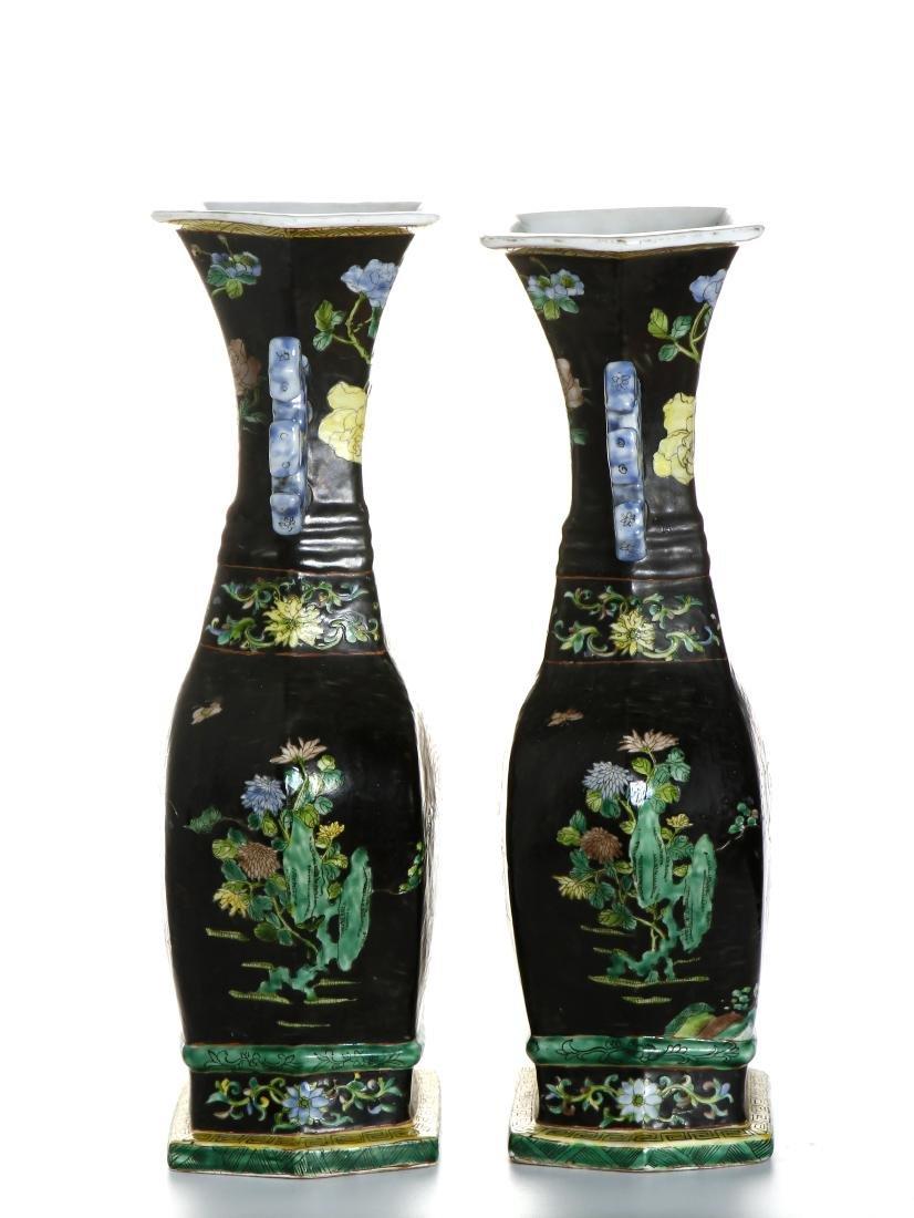 Pair of Chinese Famille Noir Vases - 2