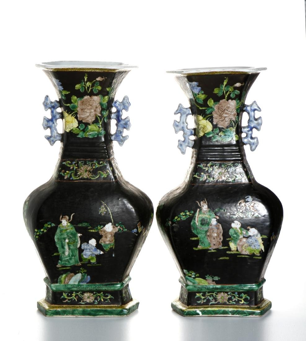 Pair of Chinese Famille Noir Vases - 3