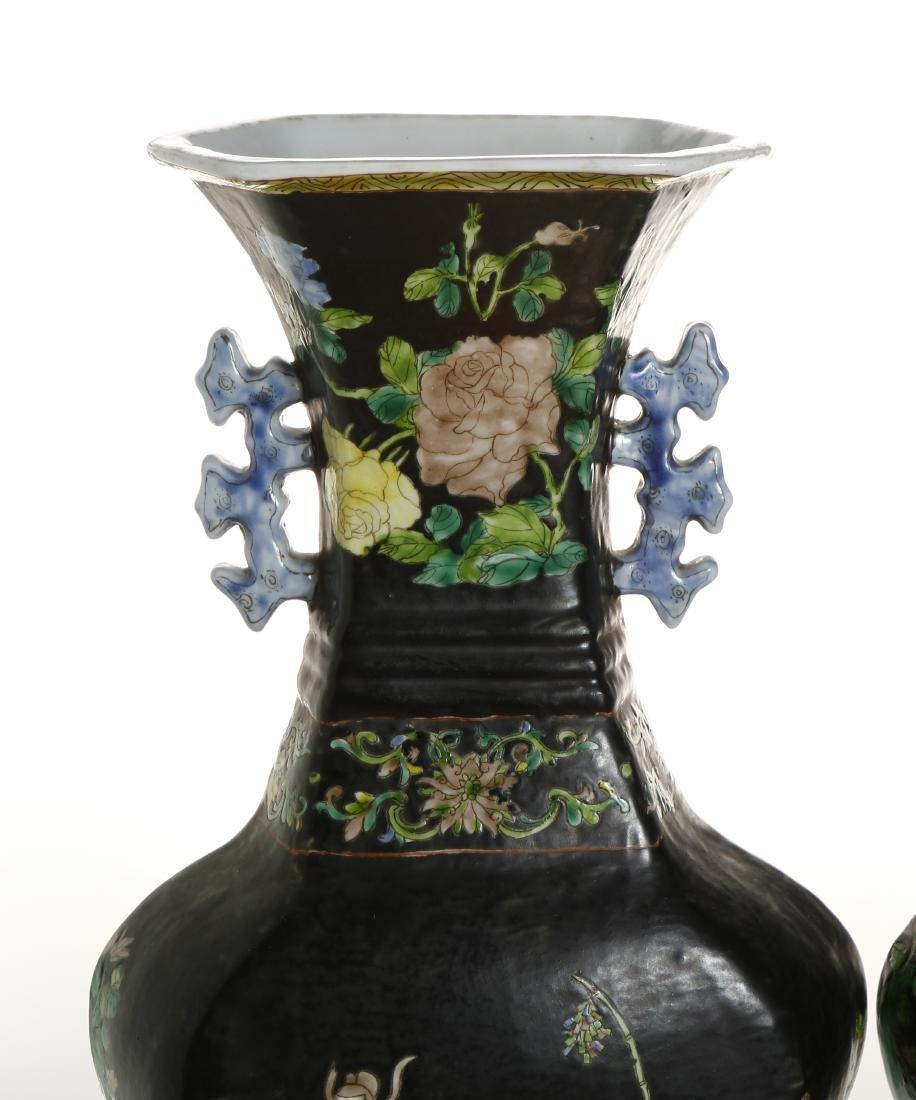 Pair of Chinese Famille Noir Vases - 4