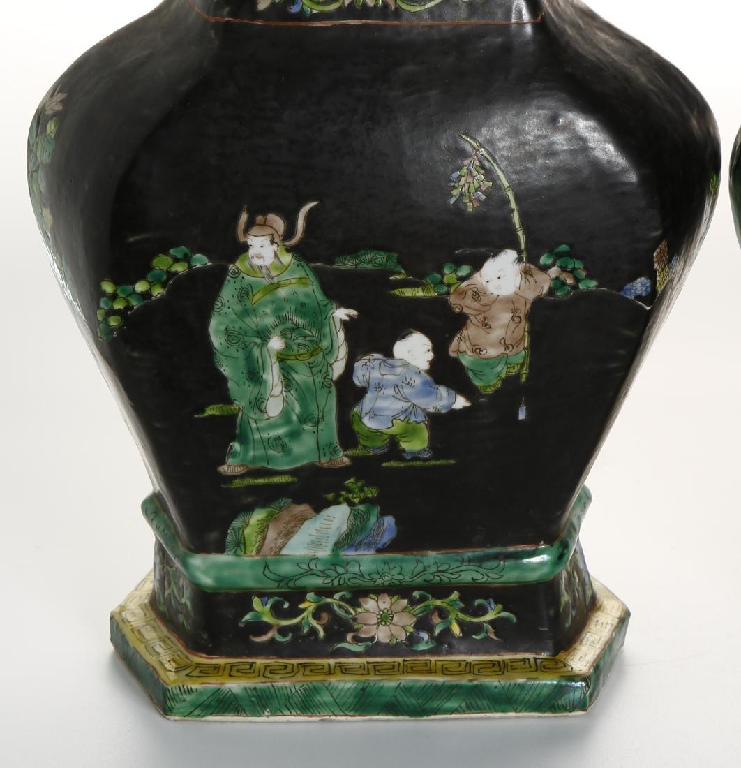 Pair of Chinese Famille Noir Vases - 5
